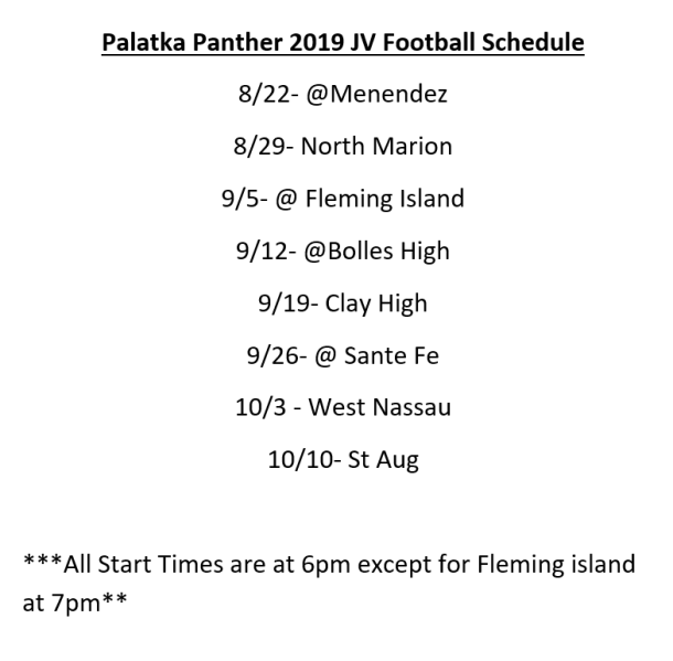 Panther Football JV 2019